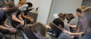 Students practicing techniques in the Diploma of Sports and Medical Massage Program