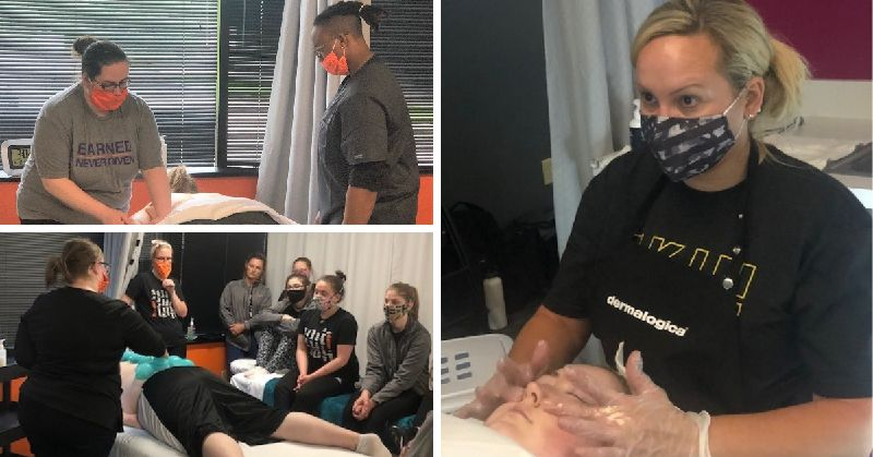 This is a collage of images. Top left image is two masked students performing a massage. Bottom left image is a masked instructor teaching cupping to a small group of six masked students. Right image is an esthetics student performing a facial on a client.